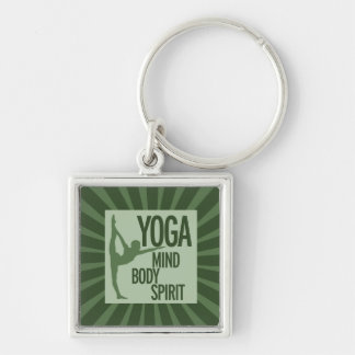 YOGA for mind body and spirit Keychains