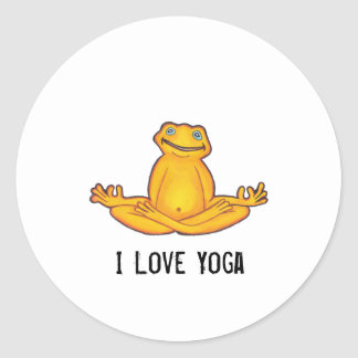 Yoga Frog - I Love Yoga,Moments of Zen Classic Round Sticker