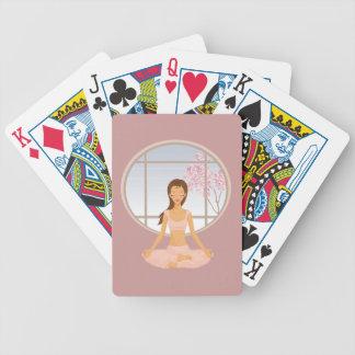 yoga girl bicycle playing cards