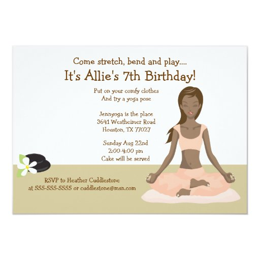 Yoga Girl Birthday Party #3 Card
