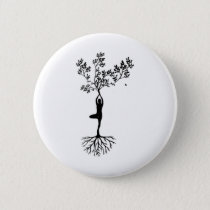 Yoga Girl Growing With Nature Button