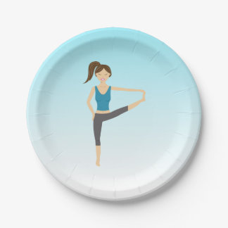 Yoga Girl In Extended Hand To Toe Pose Paper Plate