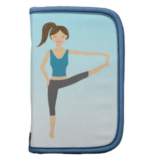 Yoga Girl In Extended Hand To Toe Pose Folio Planner