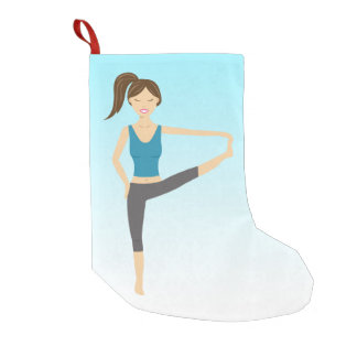 Yoga Girl In Extended Hand To Toe Pose Small Christmas Stocking