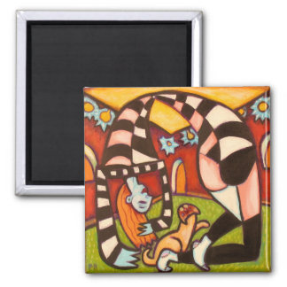 Yoga Girl 2 Inch Square Magnet