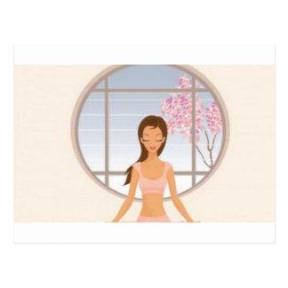Yoga girl meditating postcard