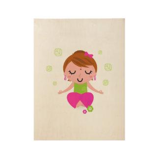 Yoga girl on wood wood poster