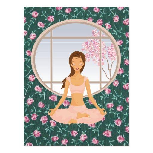 yoga girl postcard