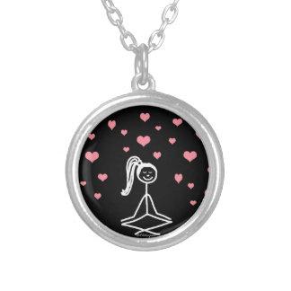 Yoga Girl Round Pendant Necklace