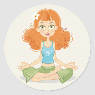 Yoga Girl Sitting in Lotus Pose Classic Round Sticker