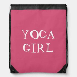 YOGA GIRL-White Text Design Drawstring Bag