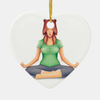 Yoga Girl With A Bear Hat Ceramic Ornament