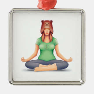 Yoga Girl With A Bear Hat Metal Ornament