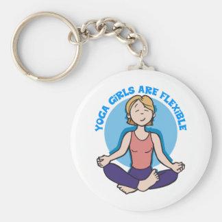 Yoga Girls Are Flexible Yoga Basic Round Button Keychain