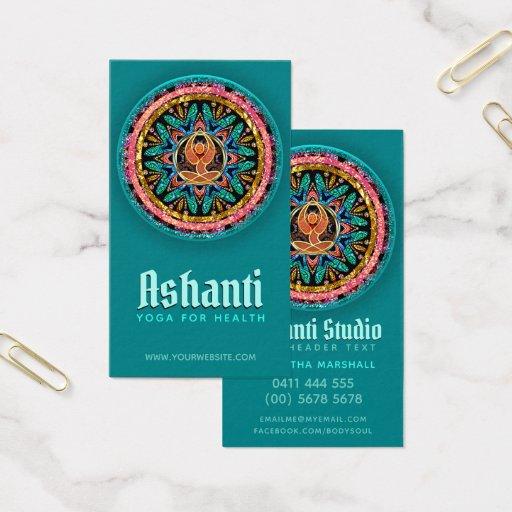 Yoga Goddess Mandala Teal Business Card
