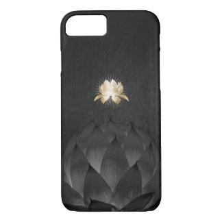 Yoga Gold Lotus Flower Elegant Black Floral iPhone 7 Case