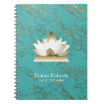 Yoga Gold Lotus Modern Turquoise & Gold Marble Notebook