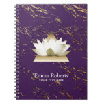 Yoga Gold Lotus Trendy Purple & Gold Marble Spiral Notebook