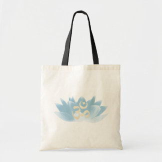 Yoga Gold Om Sign & Blue Lotus Flower Tote Bag