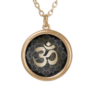 Yoga Gold Om Sign Mandalas Gold Plated Necklace