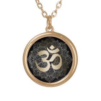 Yoga Gold Om Sign Mandalas Round Pendant Necklace