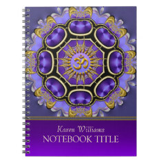 Yoga Golden Om Purple Fractal Mandala Notebook