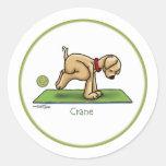 Yoga - grúa etiquetas redondas