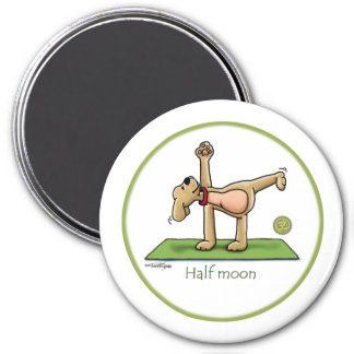 Yoga - Half Moon 3 Inch Round Magnet