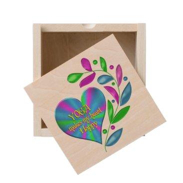 Yoga Happy Heart Wooden Keepsake Box