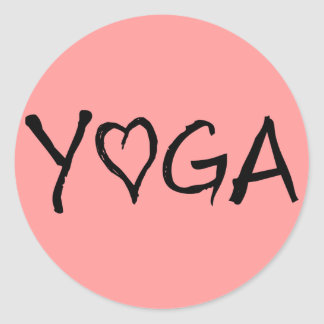 Yoga Heart Classic Round Sticker