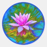 Yoga hermosa del flor de Waterlily Lotus Pegatina Redonda