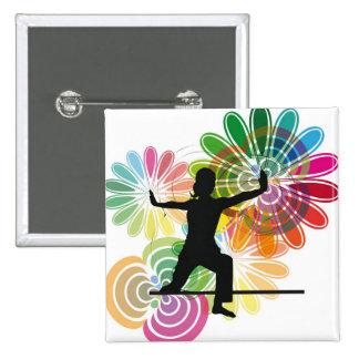 Yoga illustration 2 inch square button