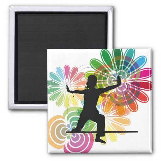 Yoga illustration 2 inch square magnet