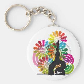 Yoga illustration basic round button keychain