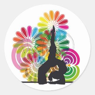 Yoga illustration classic round sticker