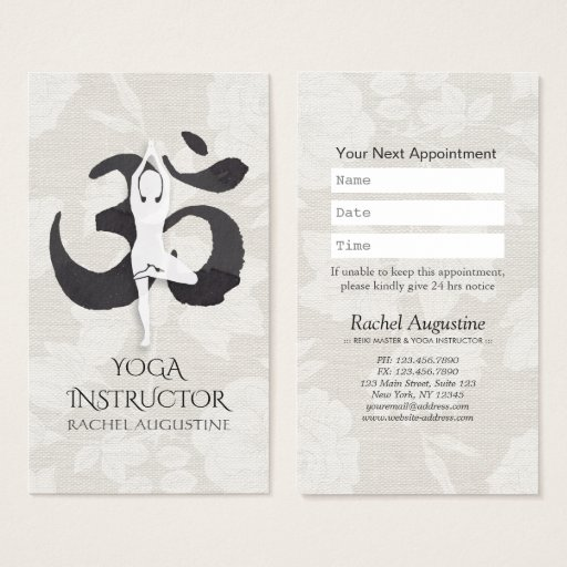 YOGA Instructor Appointment Meditation Pose Om Business Card