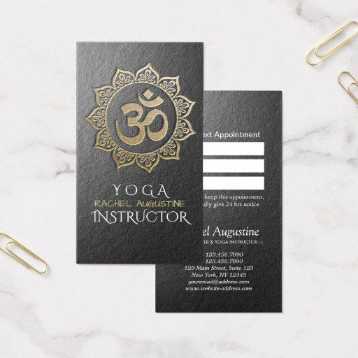 YOGA Instructor Black Gold OM Mandala Appointment Business Card
