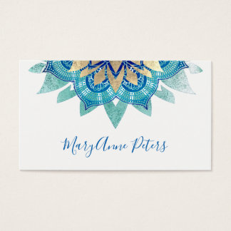 yoga instructor blue and faux gold mandala business card
