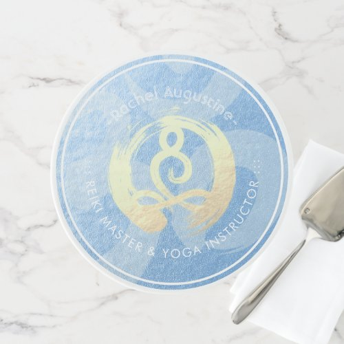 Yoga Instructor Blue  Gold Meditation Pose ZEN OM Cake Stand