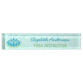 Yoga Instructor   Blue Lotus Flower Zen Meditation Nameplate