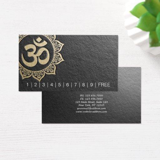 YOGA Instructor Chic Black Gold OM Mandala Loyalty Business Card