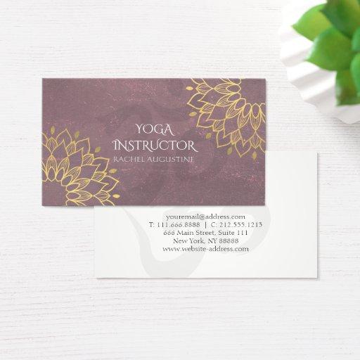 Yoga Instructor Chic Gold Floral Om Symbol Mandala Business Card