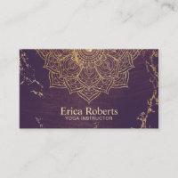 Yoga Instructor Gold Lotus Mandala Vintage Purple Business Card