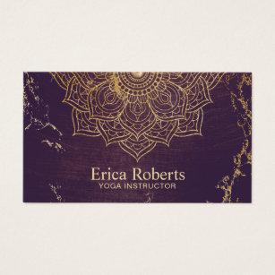 Yoga instructor business cards templates zazzle yoga instructor gold lotus mandala vintage purple business card colourmoves