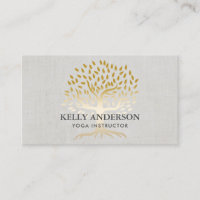Yoga Instructor Gold Tree Elegant Linen Business Card