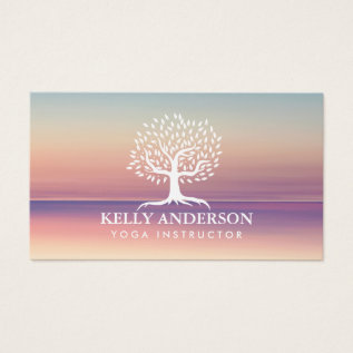 Yoga Instructor Life Coach Vintage Tree Classy Business Card at Zazzle