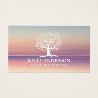 Yoga Instructor Life Coach Vintage Tree Classy Business Card