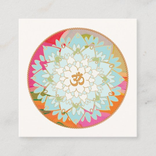 Yoga Instructor Lotus Flower And Om Symbol Square Business Card