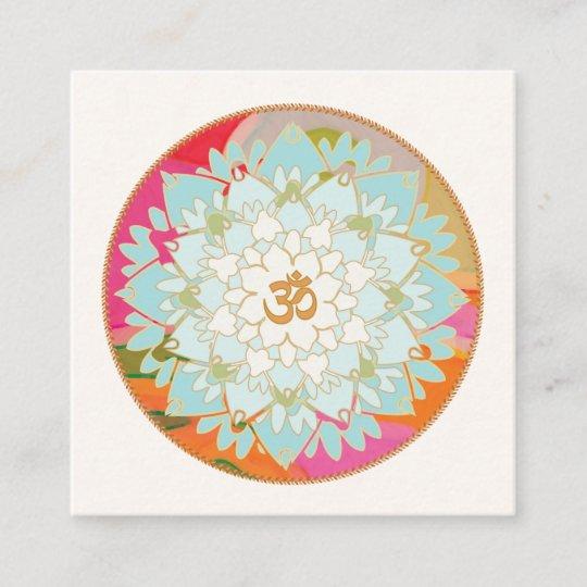 Yoga instructor lotus flower and om symbol square business card yoga instructor lotus flower and om symbol square business card mightylinksfo