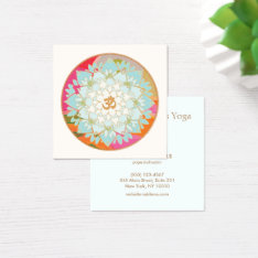 Yoga Instructor Lotus Flower And Om Symbol Square Business Card at Zazzle